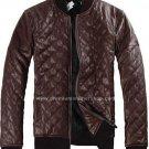 "Men's Leather Jacket Diamond Design stitch Style M27 Size 4XLT (56"" Chest)"