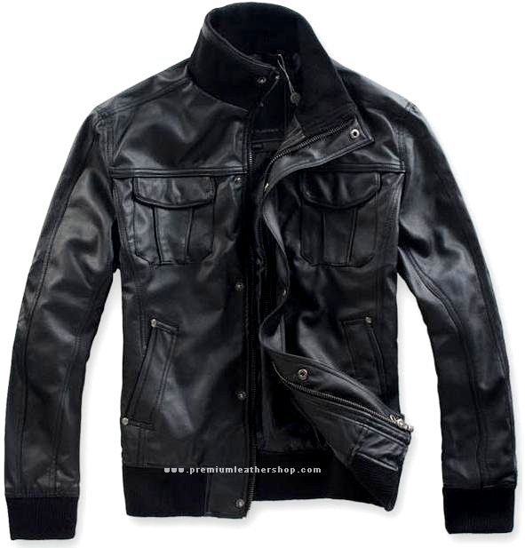 """Men's High Neck Bomber Leather Jacket Style M87 Size 5X (58"""" Chest)"""