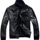 "Men's High Neck Bomber Leather Jacket Style M87 Size 4XLT (56"" Chest)"
