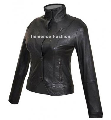 NWT Women's High Neck 4 Button Leather Jacket Style 87F