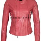 NWT Women's Crew Neck Motor Bike Leather Jacket Style 83F