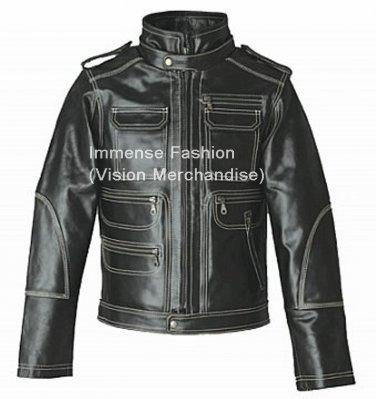 Men's Contrast Thread Fashion Biker Leather Jacket Style MD-104