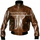 Men's High Neck Bomber Leather Jacket Style MD-110