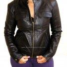 Women's Bomber Leather Jacket Style 28F Size M