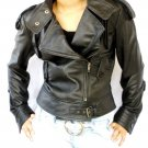 Women's Motorbike Leather Jacket Style# 7F size XS Color Black
