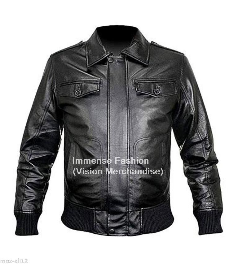 Men's Bomber Leather Jacket Style MD-58