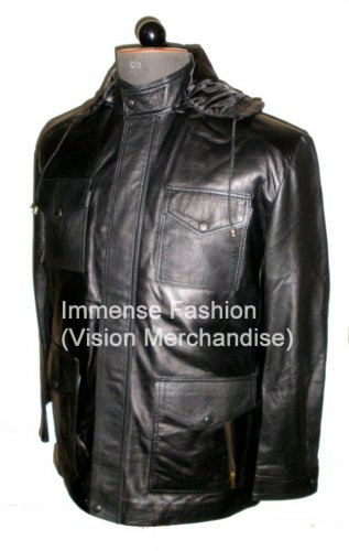 Men's High Neck Camping Hooded Bomber Leather jacket Style MD-62