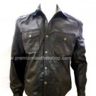 Men's Big & Tall Denim Style Classic Leather Shirt Style M82
