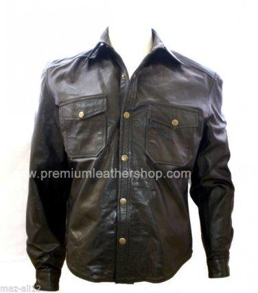 Men's Big & Tall Denim Style Classic Leather Shirt Style M82