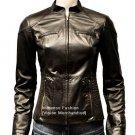 NWT Women's Mandarin Collar Quad Pocket Leather Jacket Style FS-168