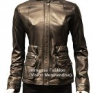 NWT Women's Cargo Pockets Leather Jacket Style FS-170