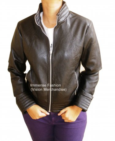 NWT Women's High Neck Leather Jacket Style FS-158