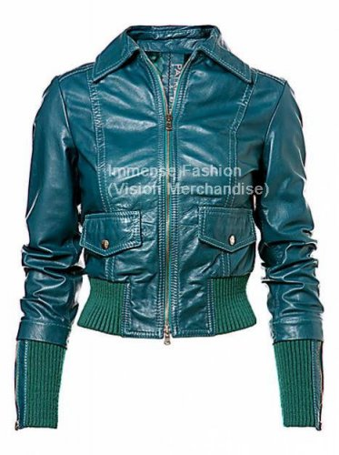 NWT Women's Cropped Bomber Leather Jacket Style FS-150
