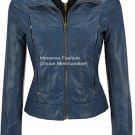 NWT Women's High Neck Hooded Leather Jacket Style FS-148