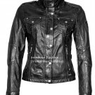 NWT Women's High Neck Bomber Inspired Leather Jacket Style FS-146