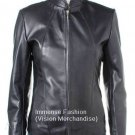 NWT Women's Mandarin Collar Fitted Style Leather Jacket Style FS-144