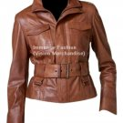 NWT Women's Cropped High Neck Leather Jacket Style FS-142