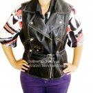 NWT Women's Classic Sleeve Less Biker Leather Vest Style FS-138