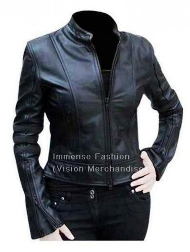 Women's Mandarin Collar Style Leather Jacket Style FS-80 Plus Sizes