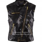 Women's Sleeve Less Motor Bike Leather Vest Style FS-78