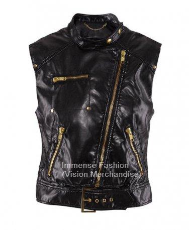 Women's Sleeve Less Motor Bike Leather Vest Style FS-78