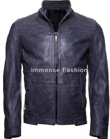 NWT Men's High Neck Leather Jacket MD-30