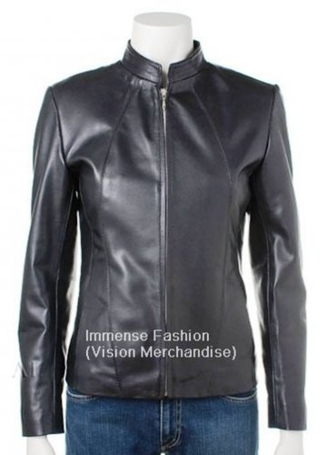 NWT Women's Mandarin Collar Fitted Style Leather Jacket Style FS-144 Plus Sizes