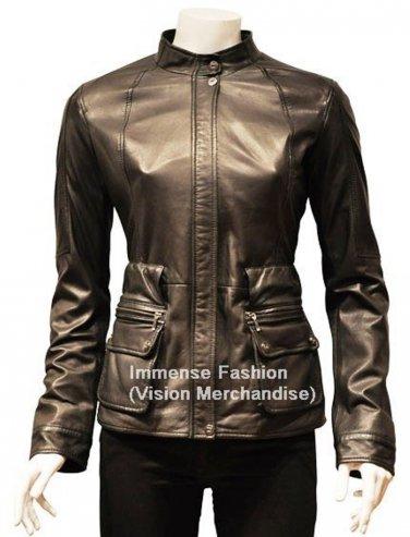 NWT Women's Cargo Pockets Leather Jacket Style FS-170 Plus Sizes