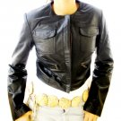 NWT Women's Crew Neck Cropped Leather Jacket Style 2600