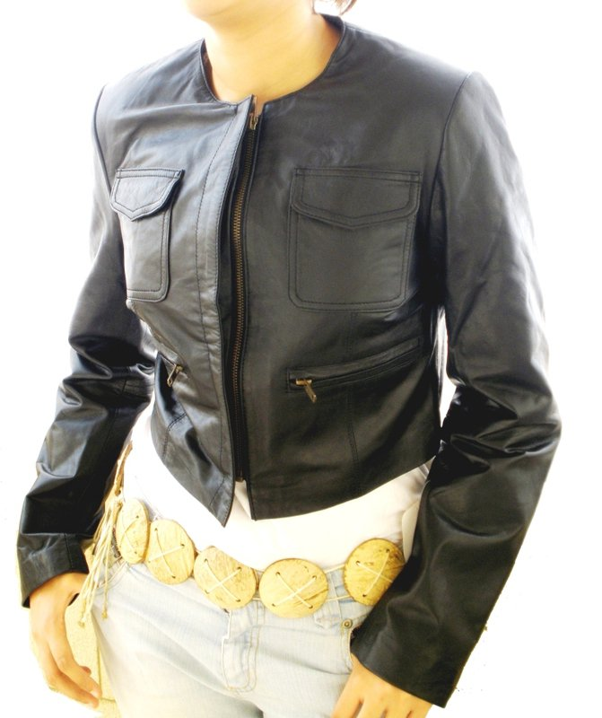 USED Women's Crew Neck Cropped Leather Jacket Style 2600 Size 2XS $99.00 + shipping or best offer