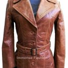 NWT Women's Leather Trench Coat Style FS-12
