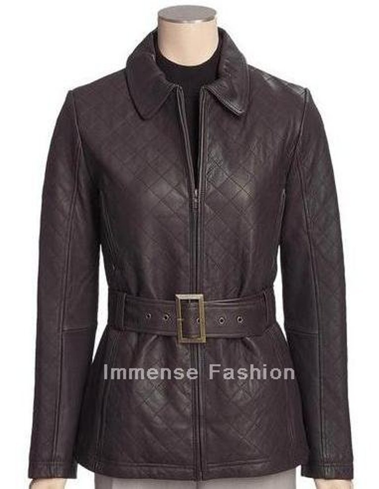NWT Women's Semi Trench Style Leather Coat Style FS-20