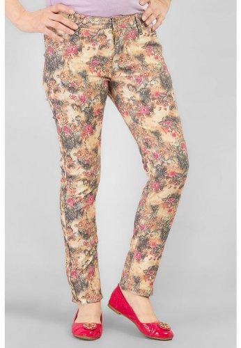 Women's Fifth Avenue Pink Denim Floral Print Jeans