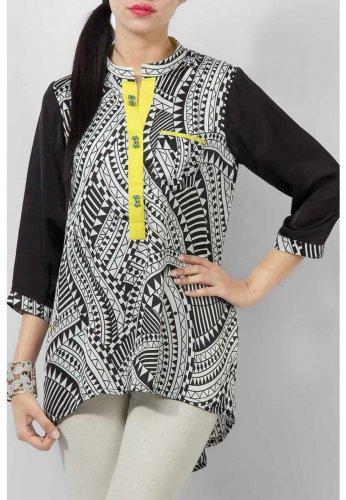 Women's Mint Black & White Silk Tunic With Lemon Yellow Placket