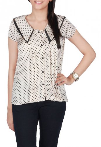 Blue Dissidents Off-White Mixed Cotton Top with Polka Dots and Pleats