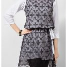 Fashion Café White Jersey Tunic with Black Net Front & Belt