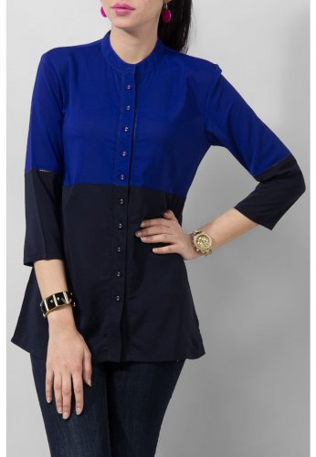 Yellow Royal Blue Polyester Woven Top