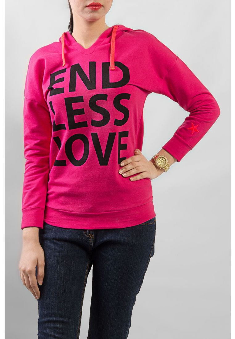 United Colors of Benetton Pink Cotton Hoodie With Pink Lace