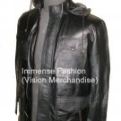 Men's High Neck Camping Hooded Bomber Leather jacket Style MD-62 $120 or best offer