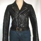 Women's Diamond Stitch Motorbike Leather Jacket Style FS-196