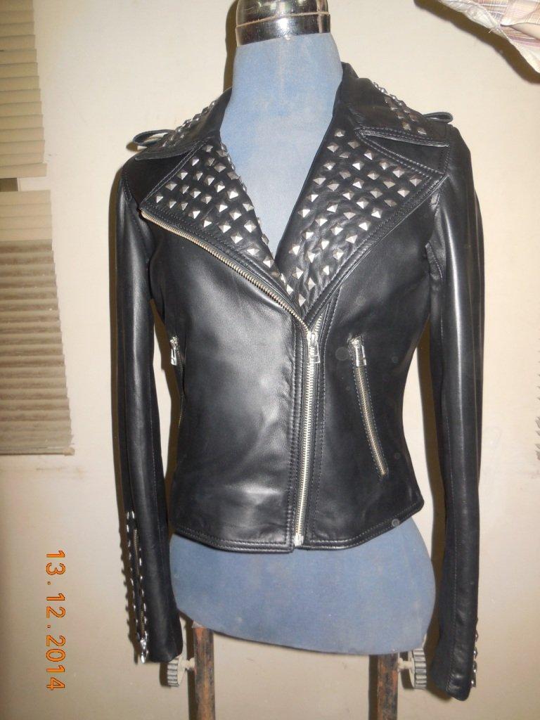 NWT Women's studded leather jacket style F-198
