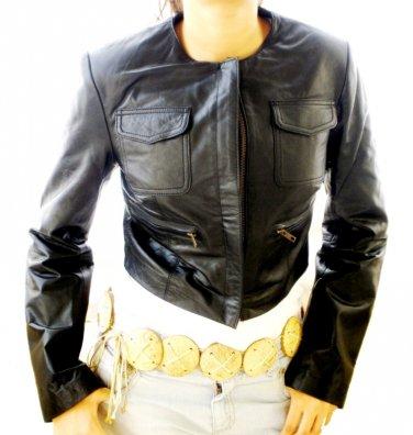 Women's Cropped Crewneck Leather Jacket Style 2600 (Used)