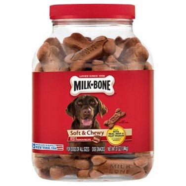 Milk-Bone Soft & Chewy Beef & Filet Mignon Recipe Dog Snacks (37 oz.) 2 count