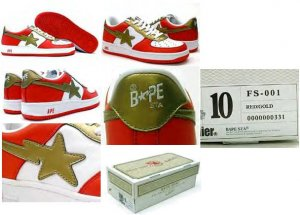 Bapesta Force 1 Low (red / gold)