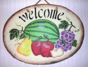 Painted Slate Welcome Slate Welcome Sign Fruit