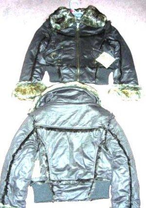 Girls Route 66 Coat Jacket Faux Fur Brown 7/8