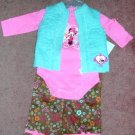 Disney Minnie Mouse Long Sleeve Onesie Vest Pants  12 Months