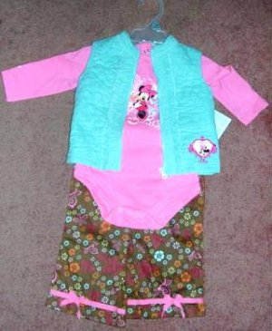 Disney Minnie Mouse Long Sleeve Onesie Vest Pants  12 Months