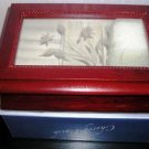 Jewelry Box Cherry Finish Etched Glass Lid NIB