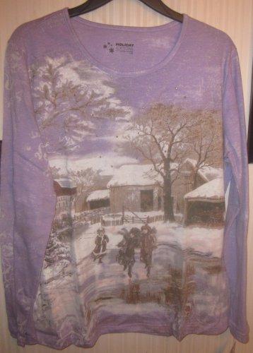 Womens Plus 3x Long Sleeve Top Purple Kids Skating Winter Scene